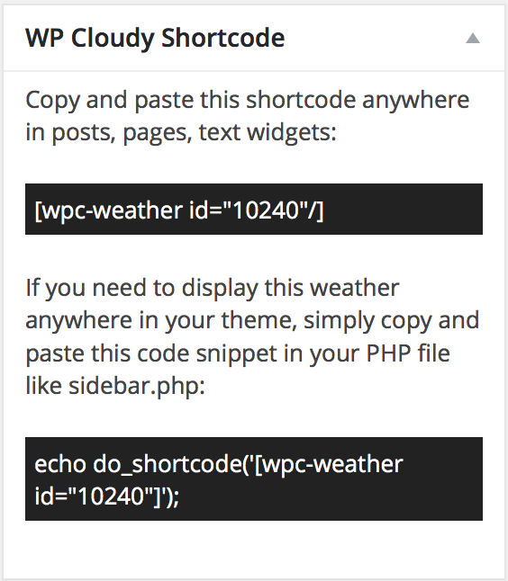 WP Cloudy Shortcode Metaboxe