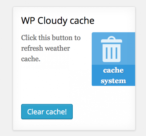 Clear cache button - WP Cloudy settings